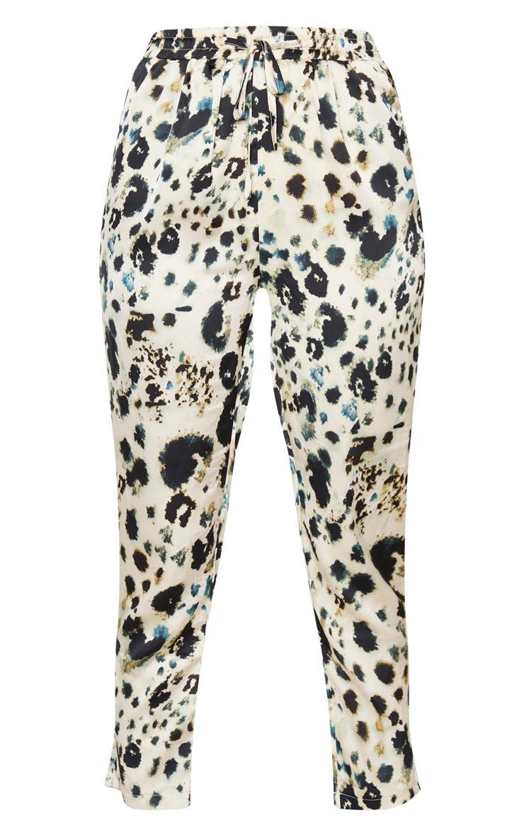 Cream Leopard Print Cigarette Pants 3