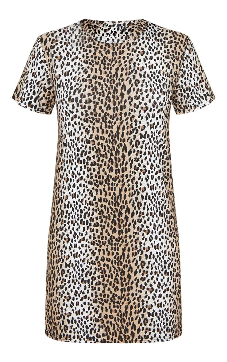 Basic Leopard Print Short Sleeve T shirt Dress  3