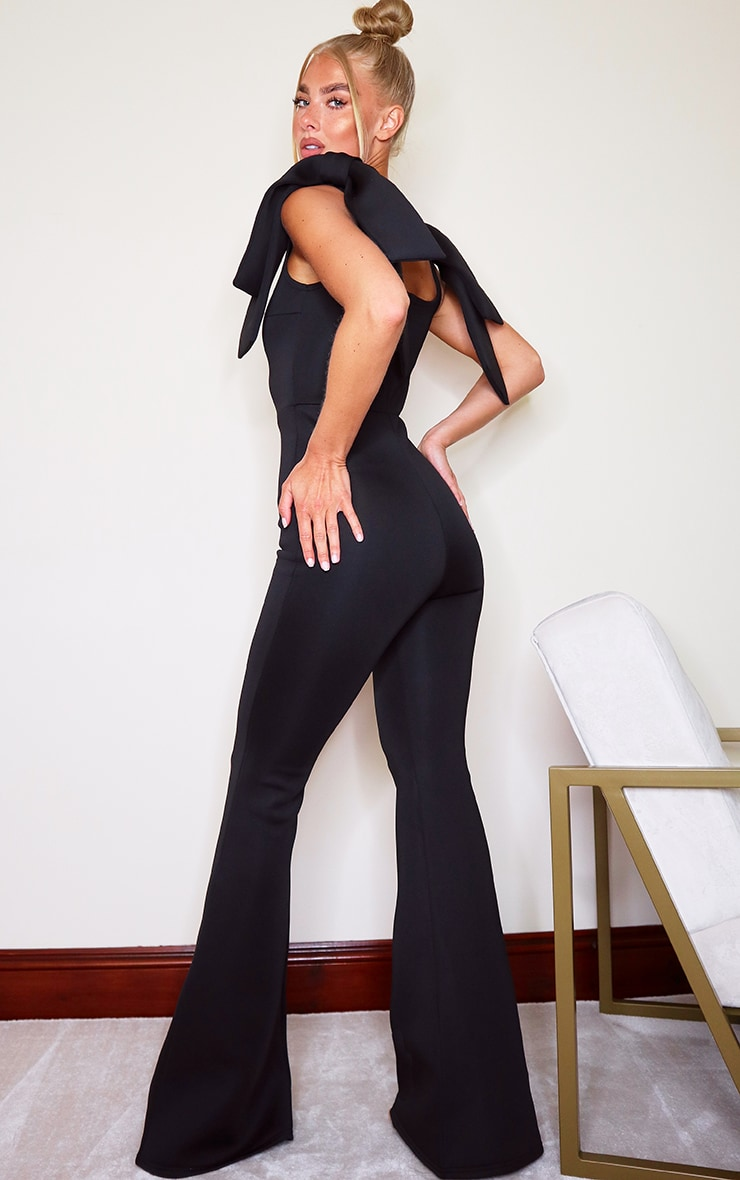 Black Bow Shoulder Flared Leg Scuba Jumpsuit 2