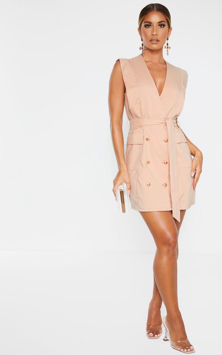 Nude Sleeveless Gold Button Detail Blazer Dress 4