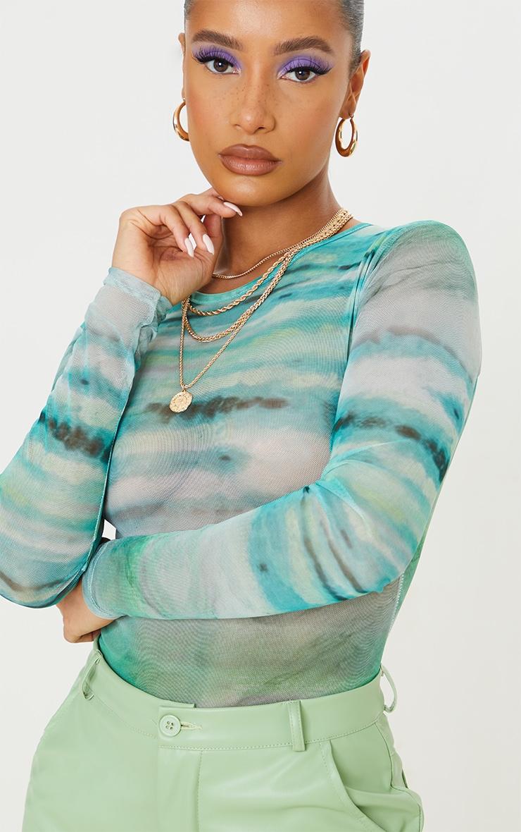 Blue Textured Stripe Printed Mesh Bodysuit 4