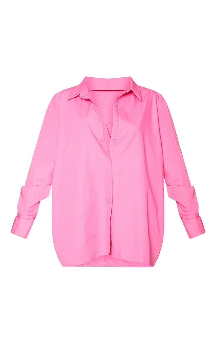 Petite Pink Oversized Cuff Detail Shirt 5