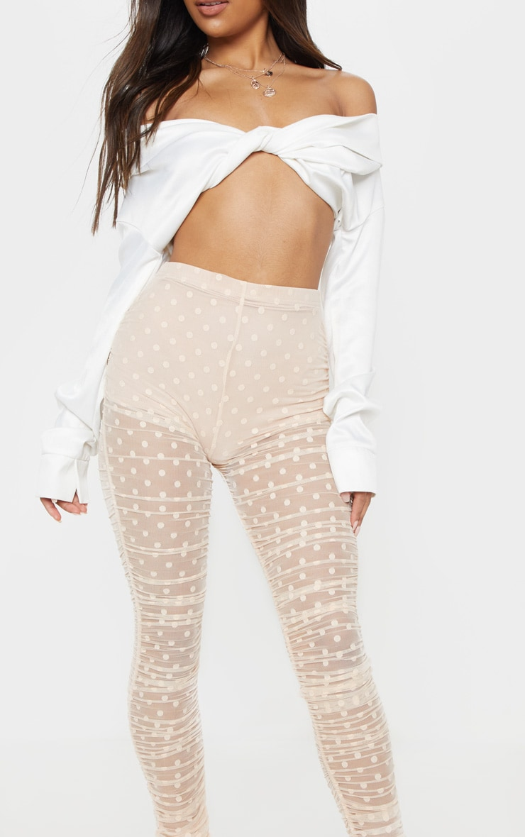 Nude Dobby Mesh Ruched Legging 5