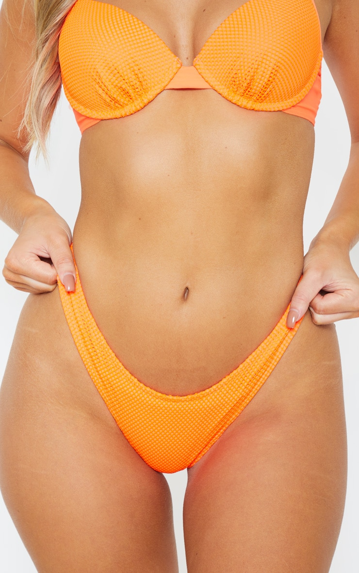 Neon Orange Fishnet Full Coverage High Leg Bikini Bottom 5