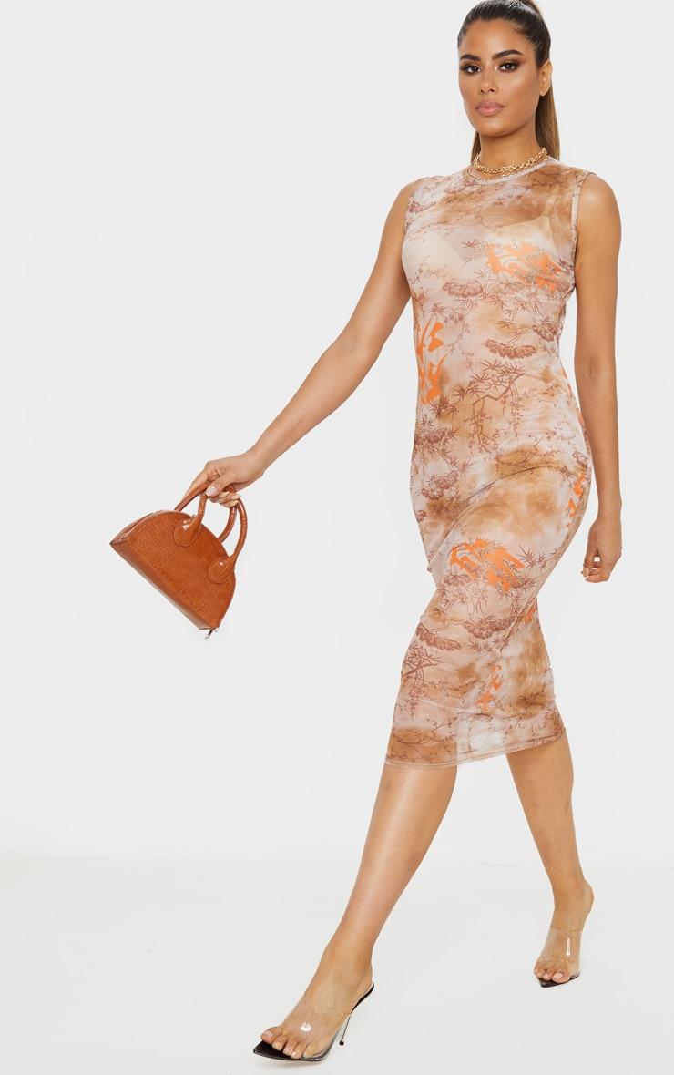 Tall Nude Oriental Mesh Midi Dress 1