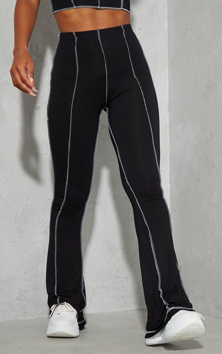 Black Contrast Stitch Seam Flared Trousers 2