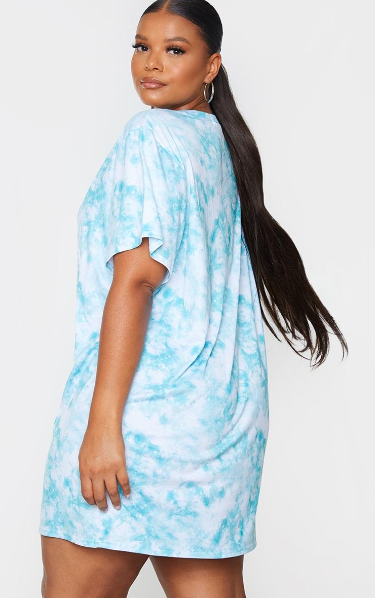 Plus Dusty Blue Tie Dye Angel Energy T Shirt Dress 2