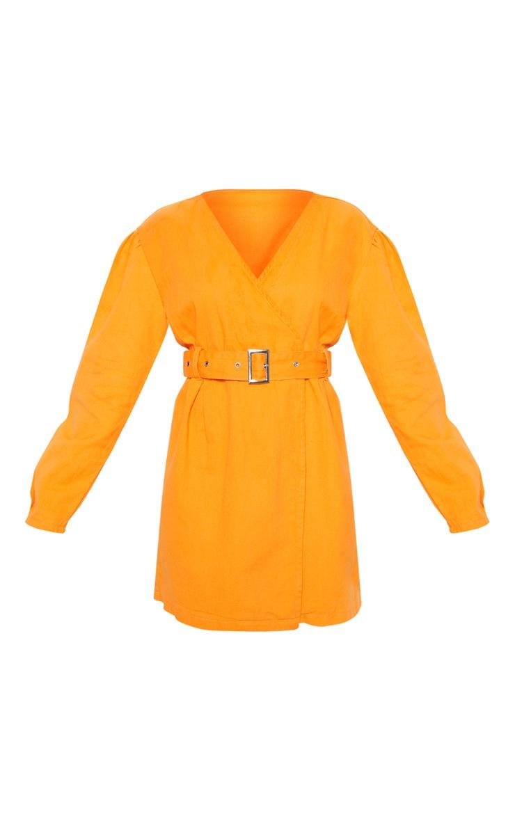 Bright Orange Belted Wrapover Denim Dress 3
