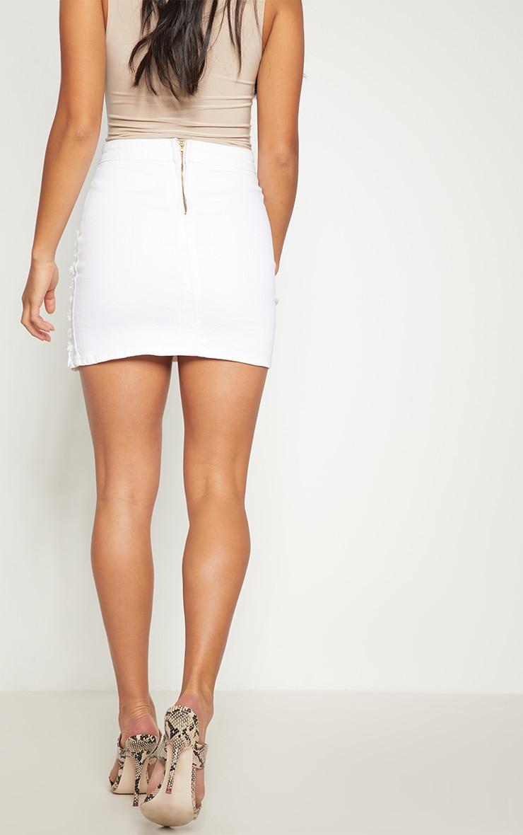Petite White Distressed Denim Mini Skirt 4
