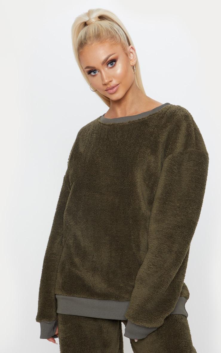 Khaki Fleece Oversized Sweater 1
