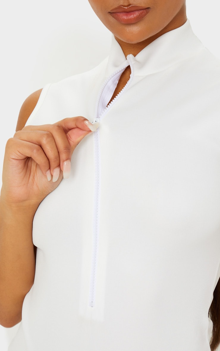 White Bonded Scuba Sleeveless Zip Bodysuit 6
