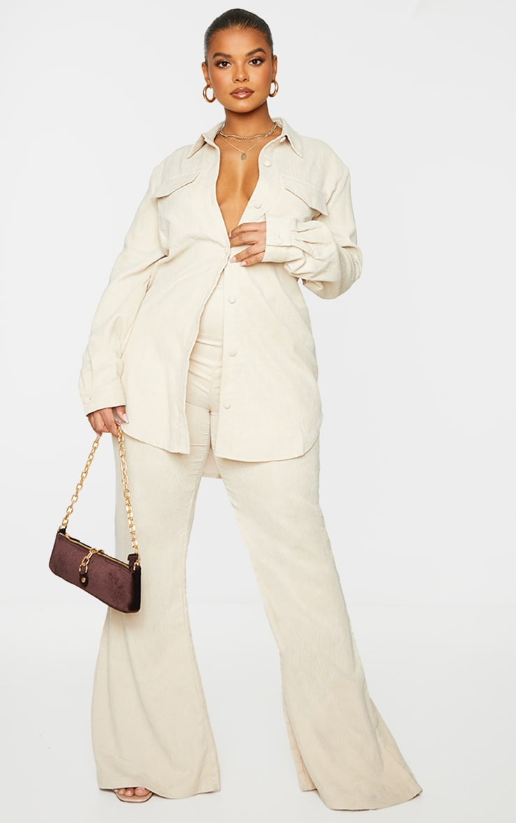 Plus Cream Cord Flared Pants 1