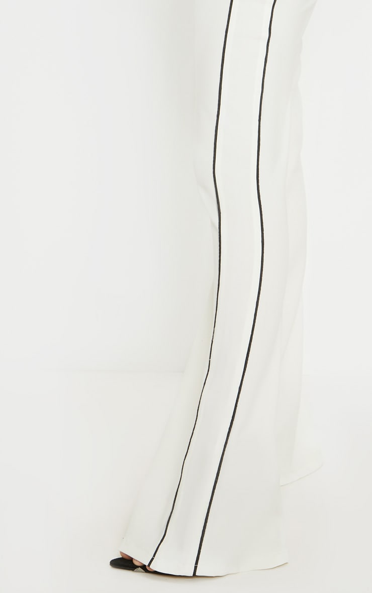 Cream Contrast Trim Flared Trouser 5