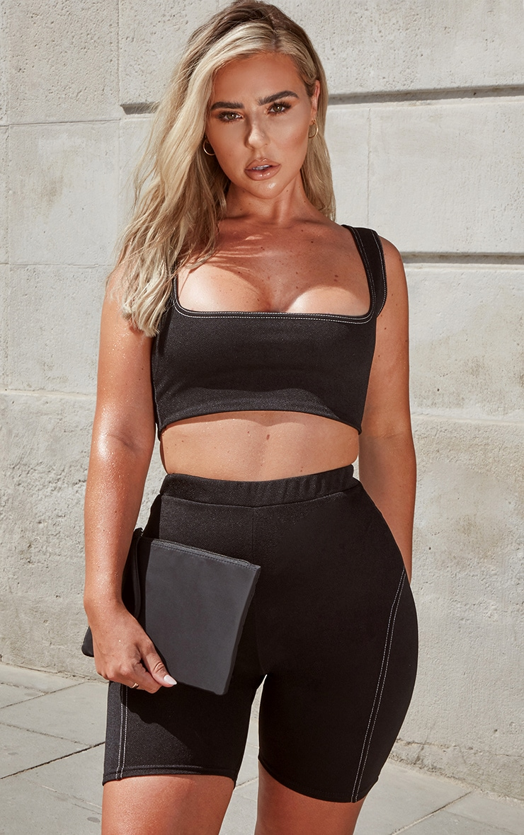 Black Contrast Stitch Square Neck Sleeveless Crop Top 1
