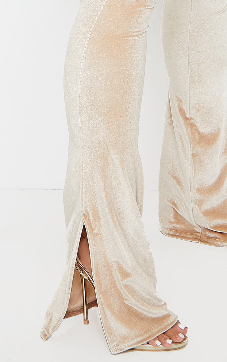 Shape Champagne Velvet Split Hem Trousers 4