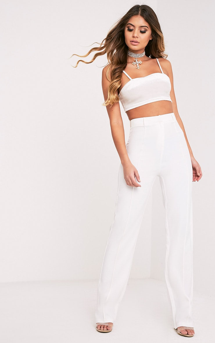 Anala Cream High Waisted Straight Leg Trousers