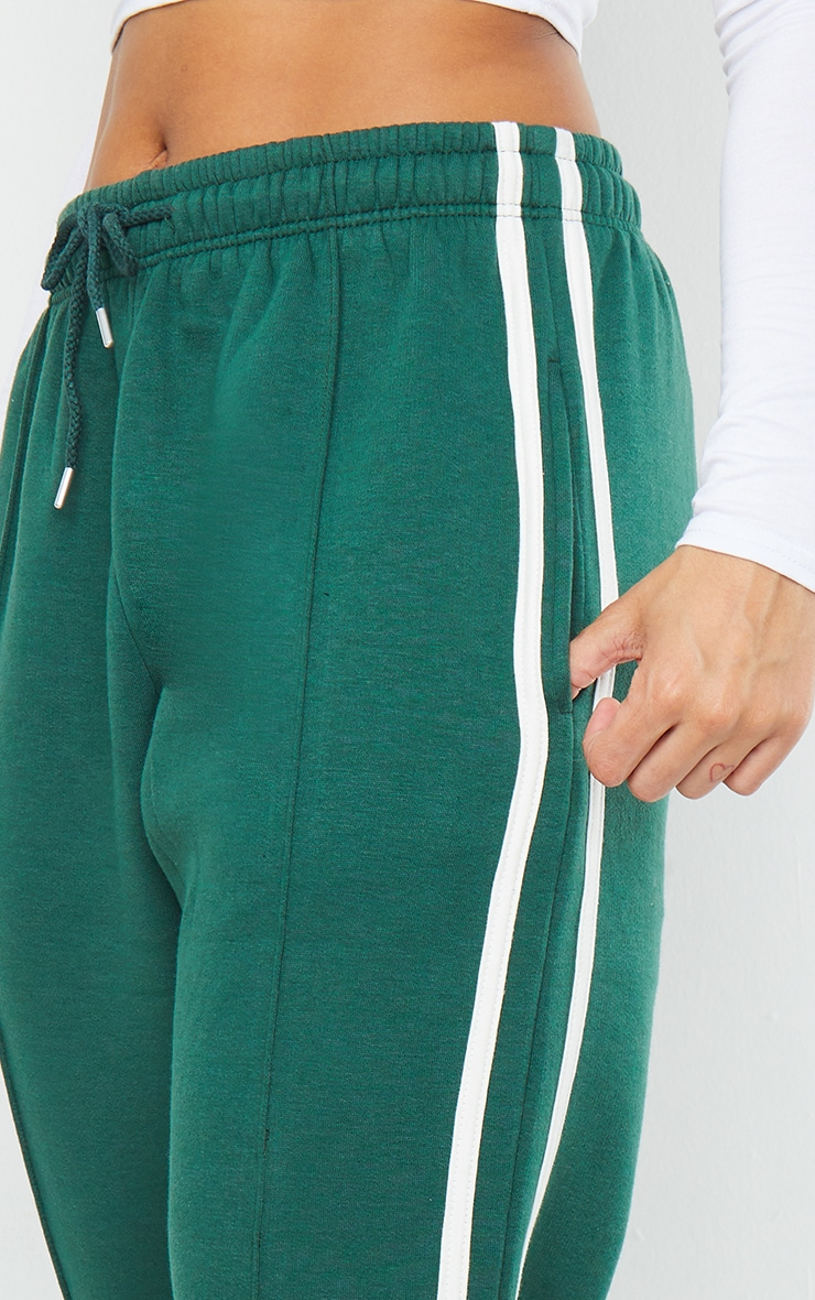 Forest Green Double Side Stripe Joggers 4