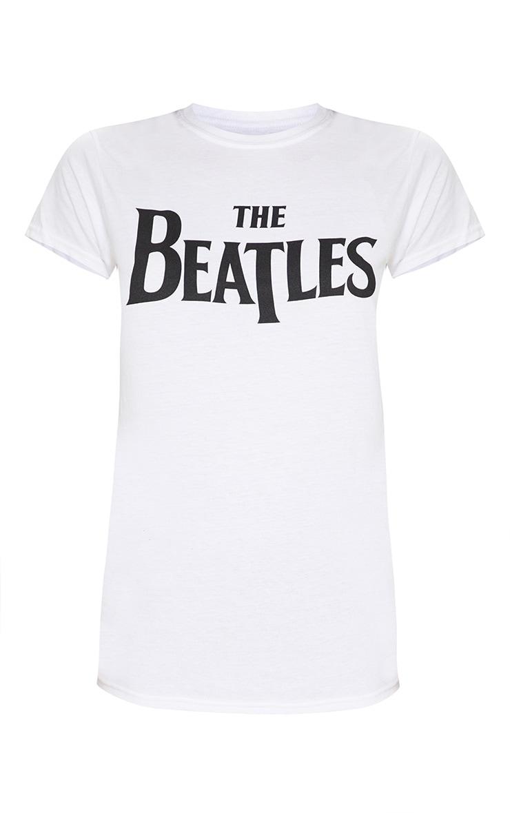 White The Beatles Slogan T Shirt 3
