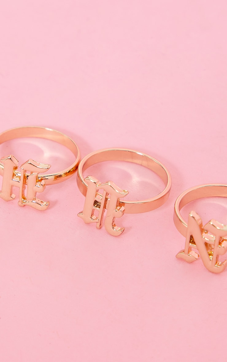 Gold Hun Gothic 3 Pack Rings 3