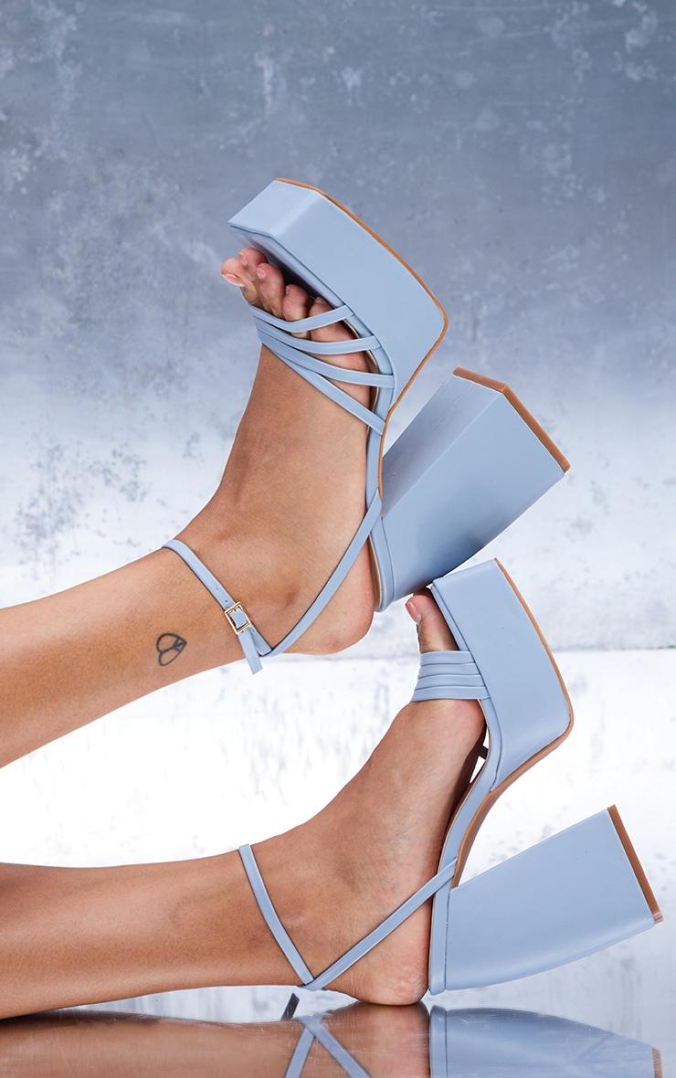 Blue PU Square Toe Platform Strappy Heeled Sandals 2