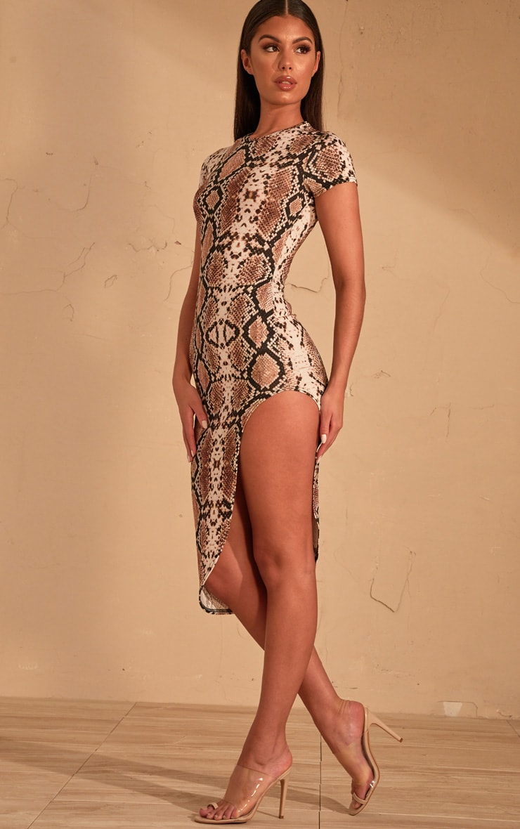 Beige Snake Print Extreme Split Cap Sleeve Midi Dress 4