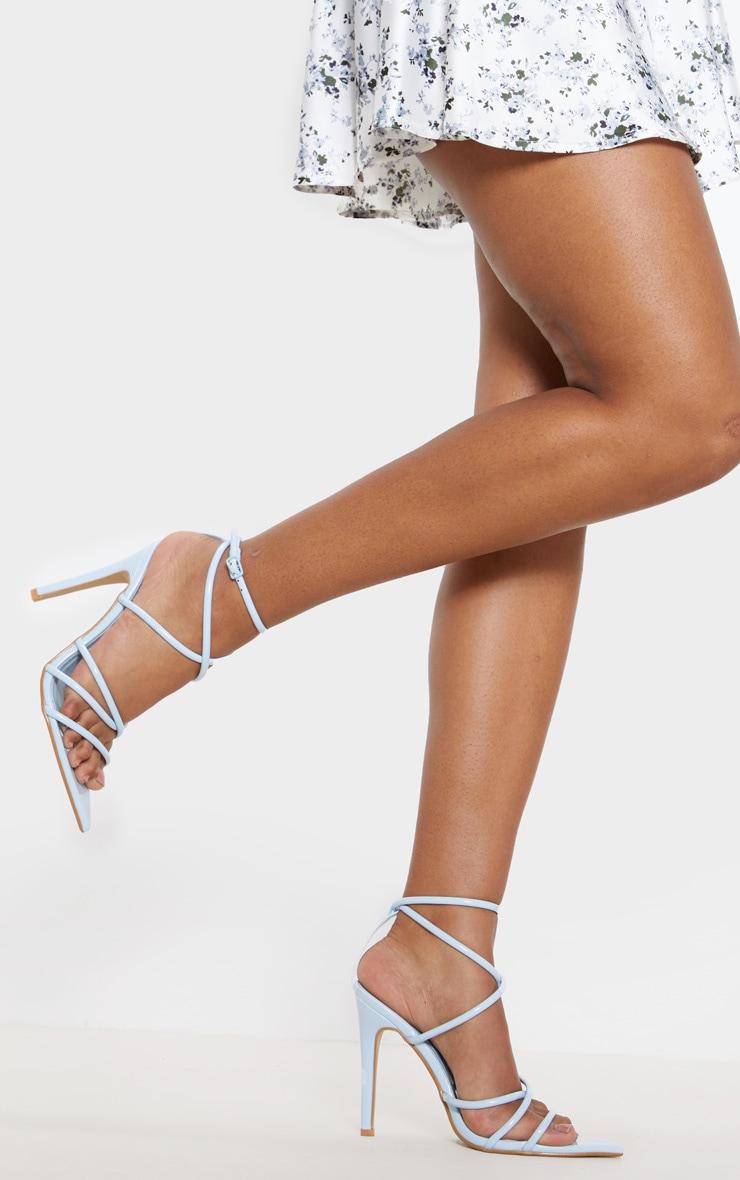 Pastel Blue Tube Strappy Point Toe Sandal 1