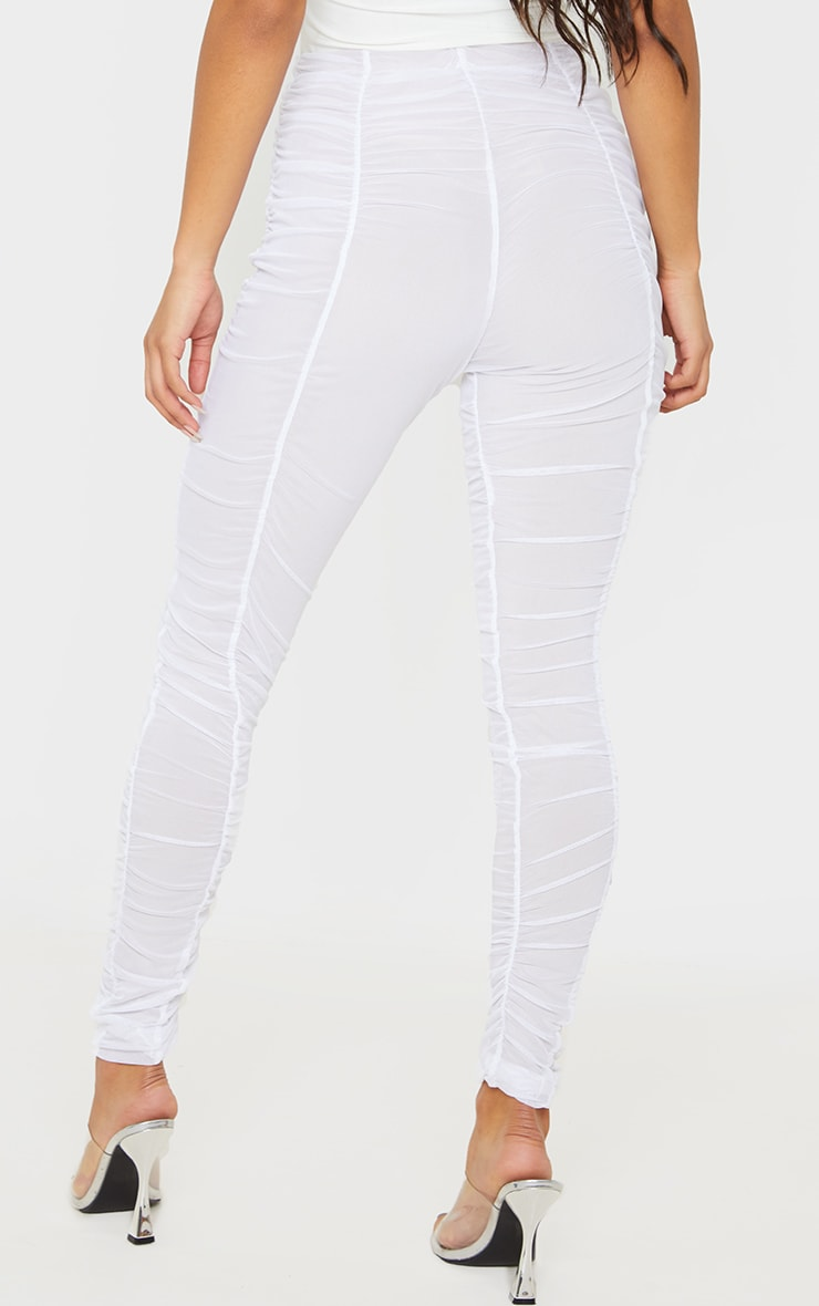 White Ruched Mesh Layered Pants 4