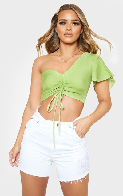 e8a5a3fa8879e5 Petite Olive Green One Shoulder Ruched Crop Top PrettyLittleThing Sticker