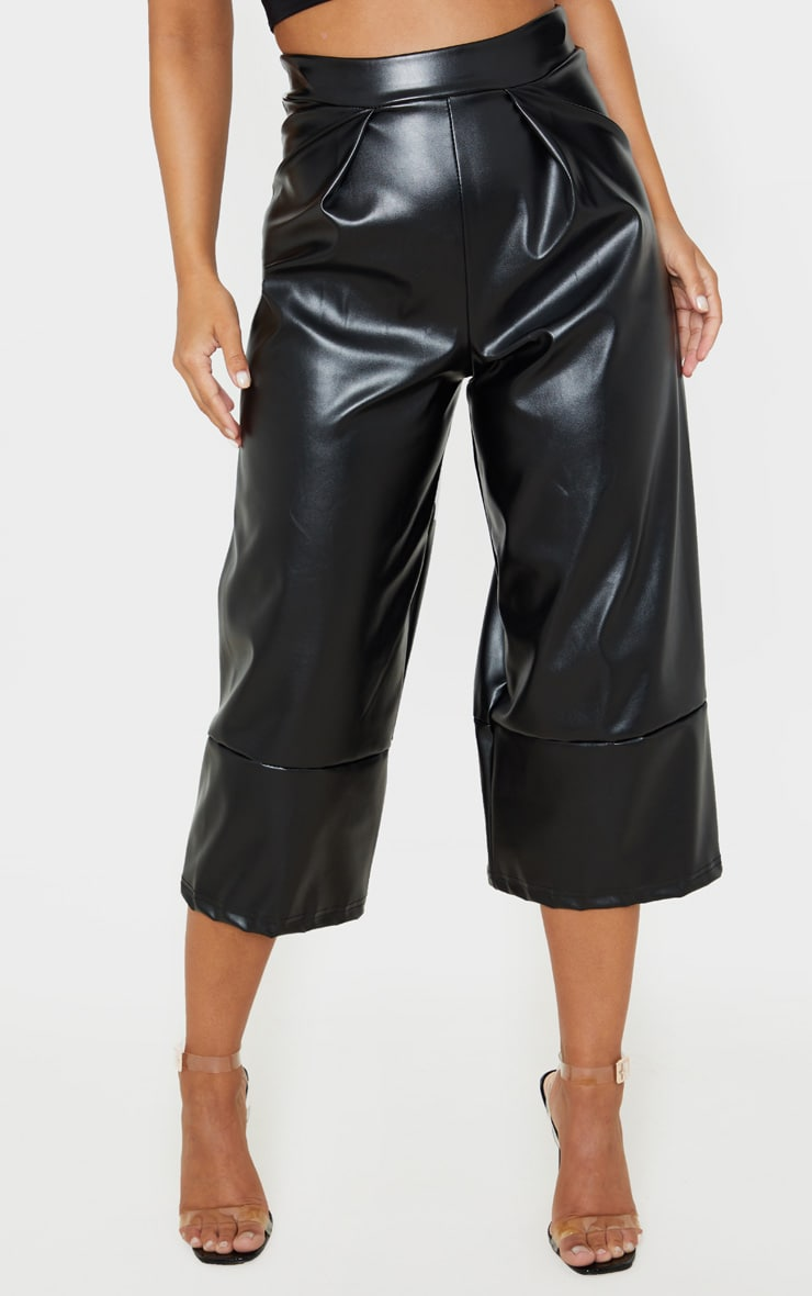 Petite Black PU Culotte Pants 2