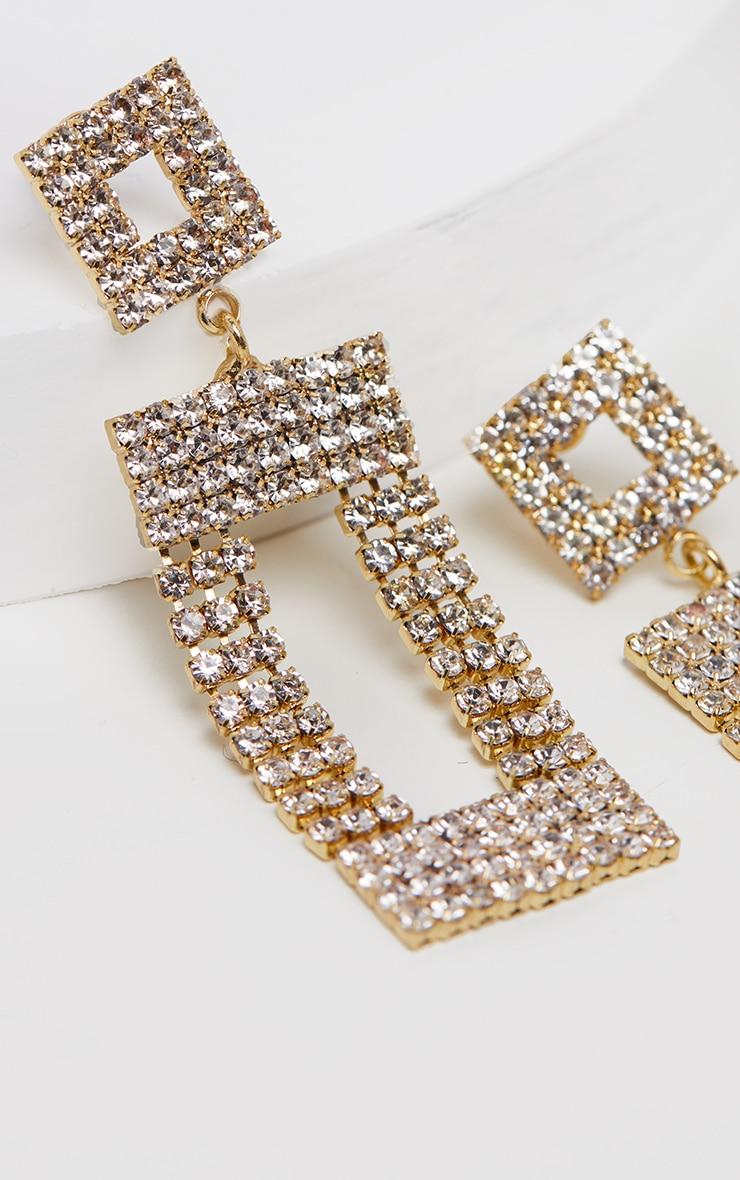 Gold Diamante Door Knocker Earrings 3