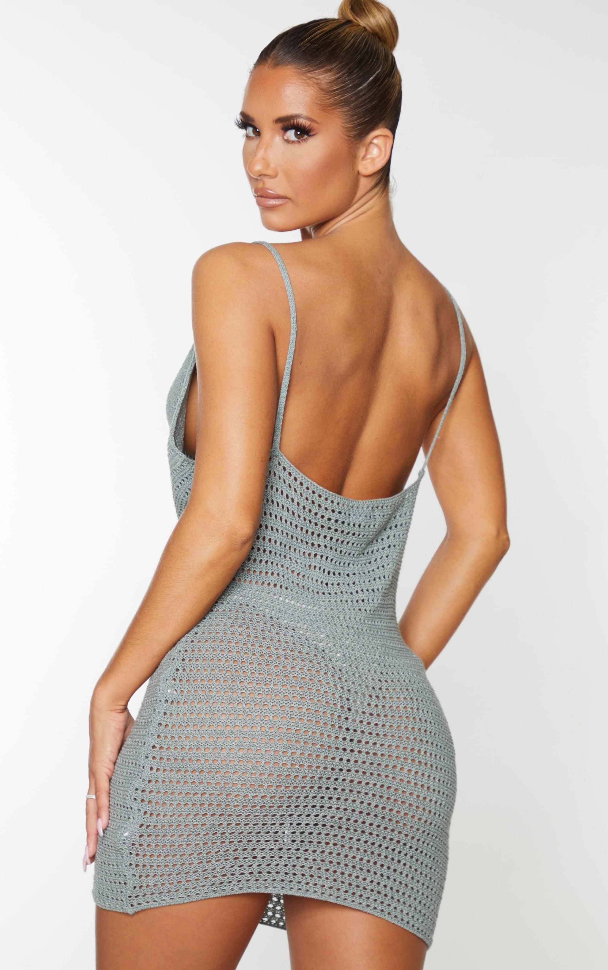 Sage Green Crochet Cowl Neck Knitted Mini Dress 2