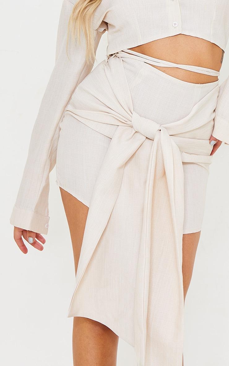 Petite Ecru Wrap Over Bodycon Skirt 5