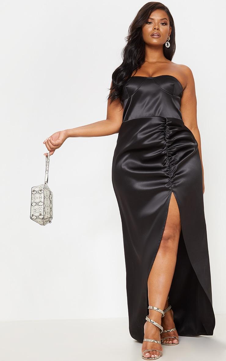 Black Bonded Satin Bandeau Ruched Detail Maxi Dress 2
