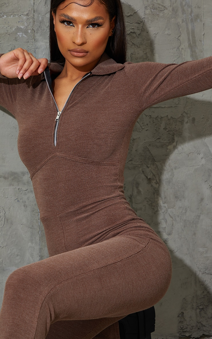 Chocolate Underbust Binding Detail Rib Jumpsuit 4