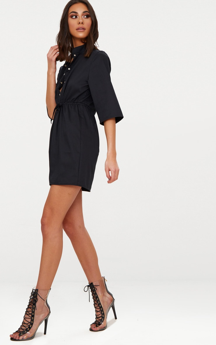 Black Utility Shirt Dress  4