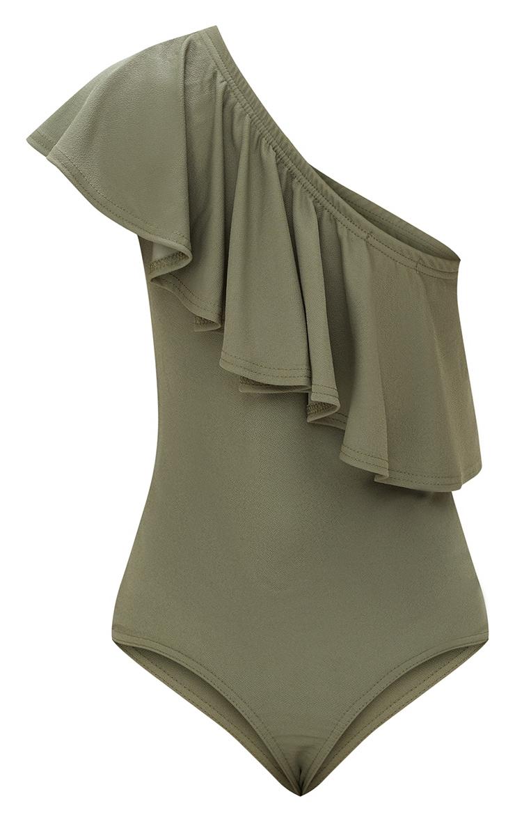 Petite Khaki One Shoulder Frill Bodysuit 3