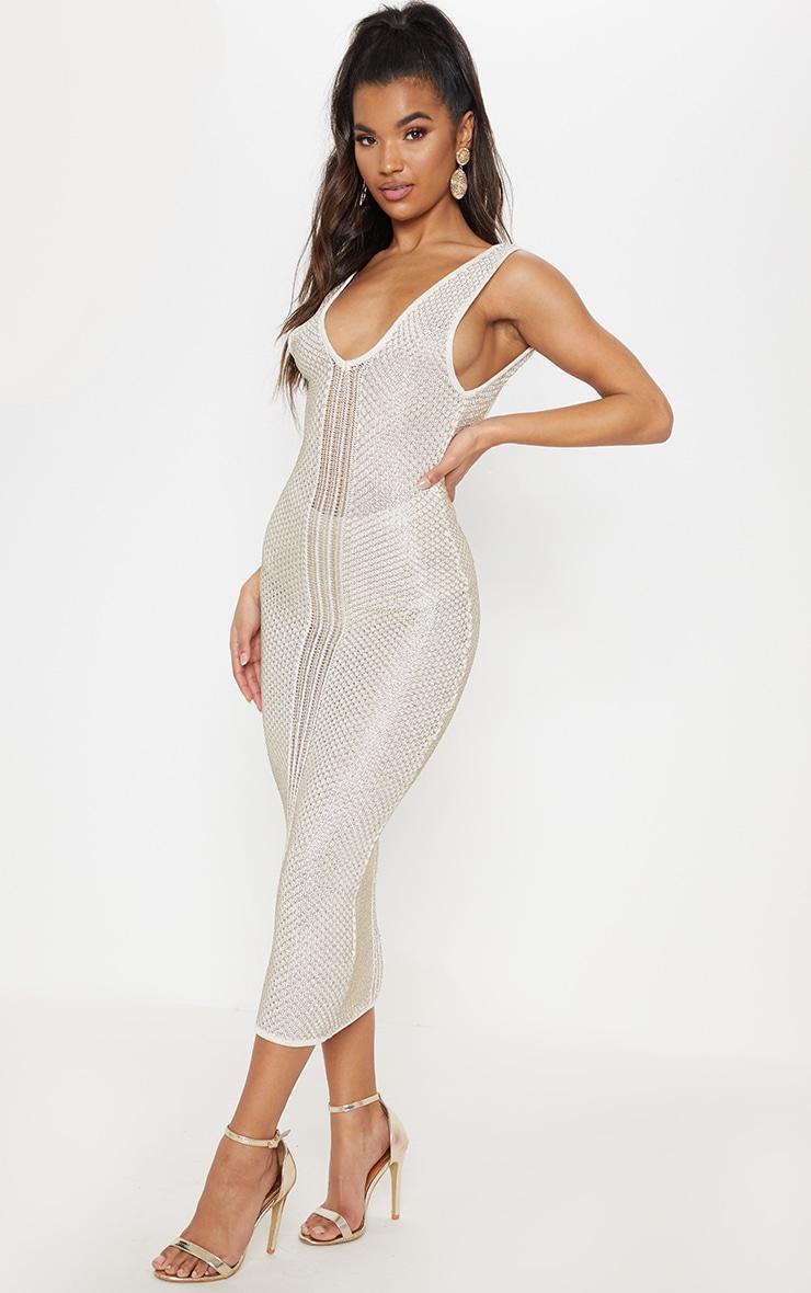 Cream Metallic Knit Bodycon Midi Dress  4