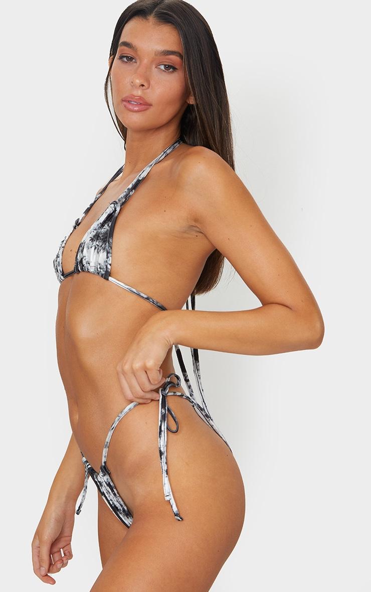 Monochrome Tie Dye Mini Ruched Tie Side Bikini Bottom 2