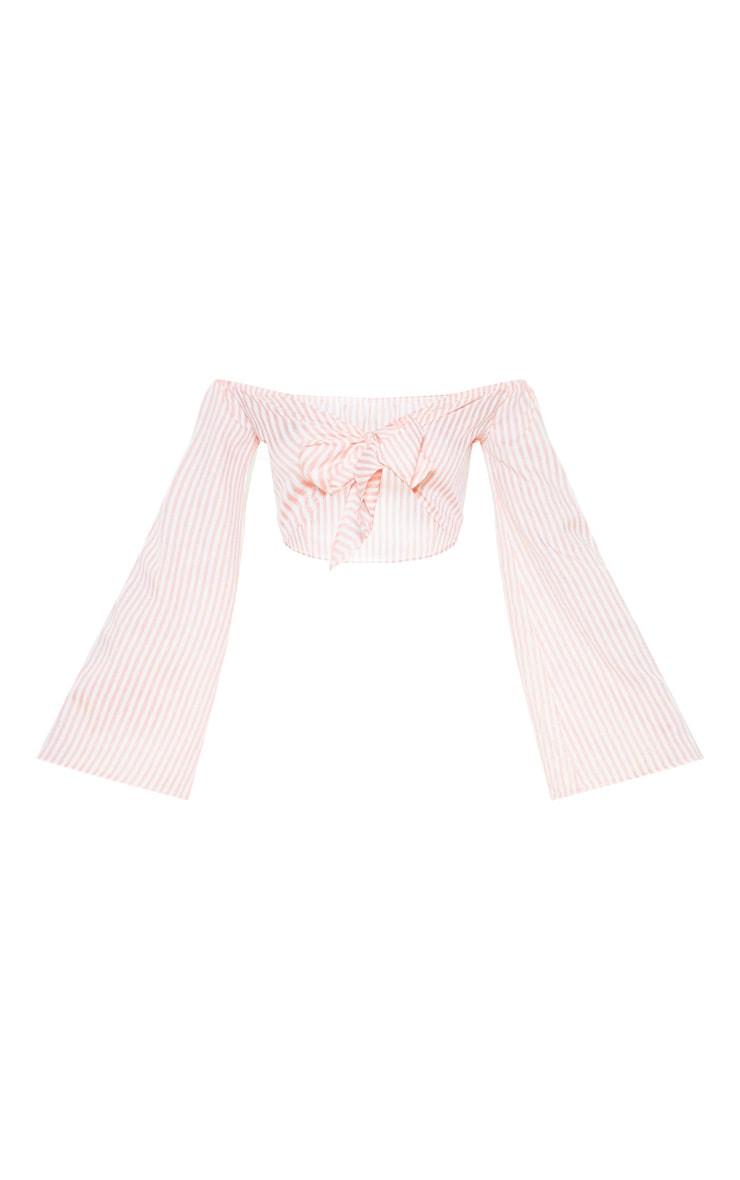 Pink Stripe Tie Front Bardot Crop Top 3