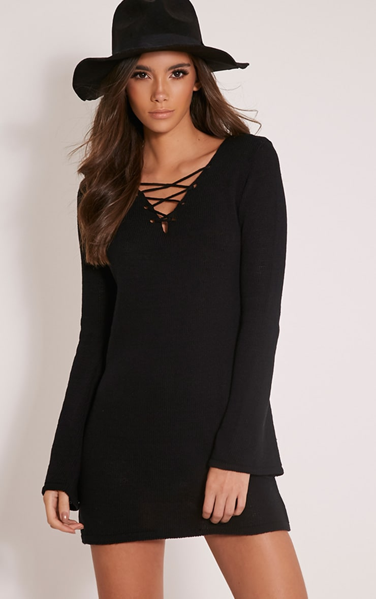Nena Black Knitted Bell Sleeve Dress 1