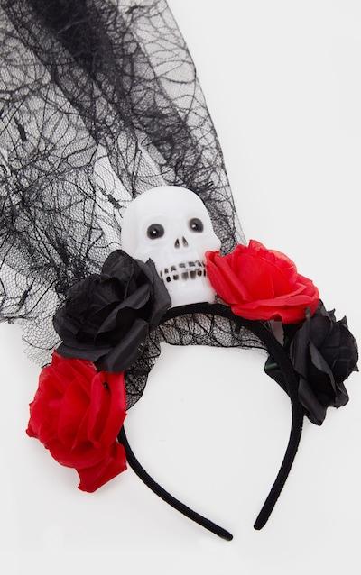 Black Day Of the Dead Flower And Skull Veil Headband