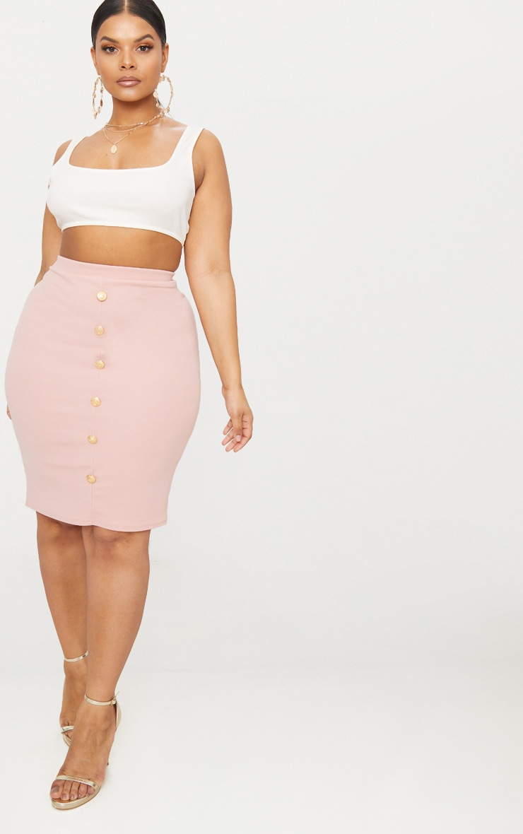 Plus Dusty Pink Military Button Detail Bodycon Skirt 4