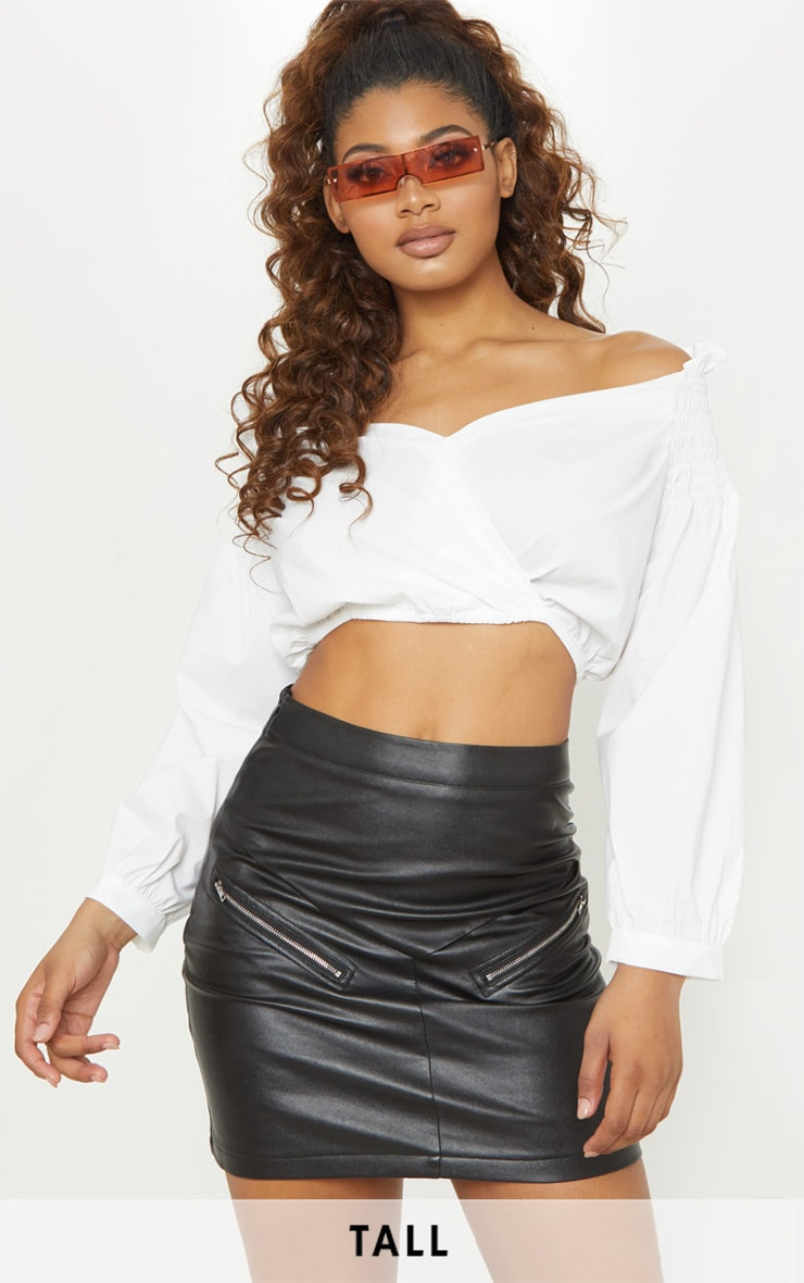 Tall White Cropped Off The Shoulder Puff Sleeve Top 1