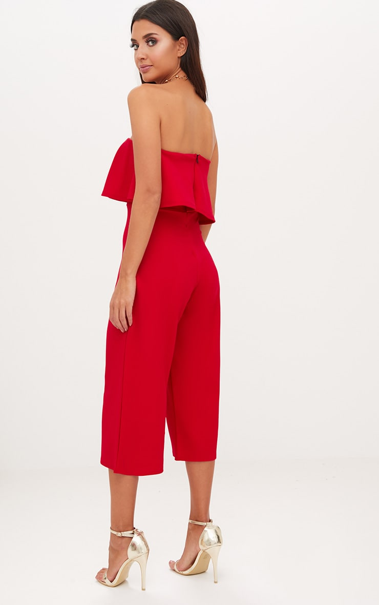Red Bardot Double Layer Culotte Jumpsuit 2