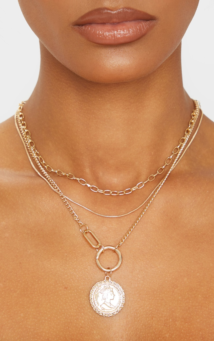 Gold Multi Coin Layering Necklace 2