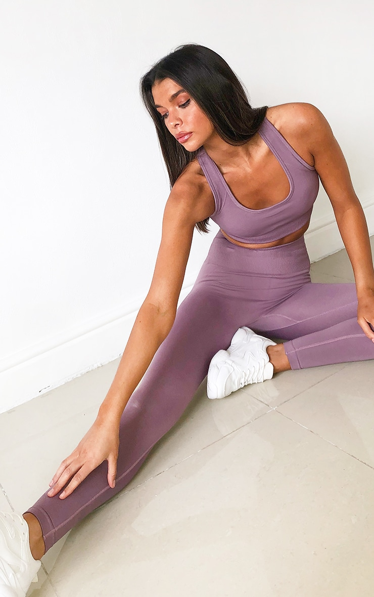 Mauve High Waist Seamless Gym Leggings 1
