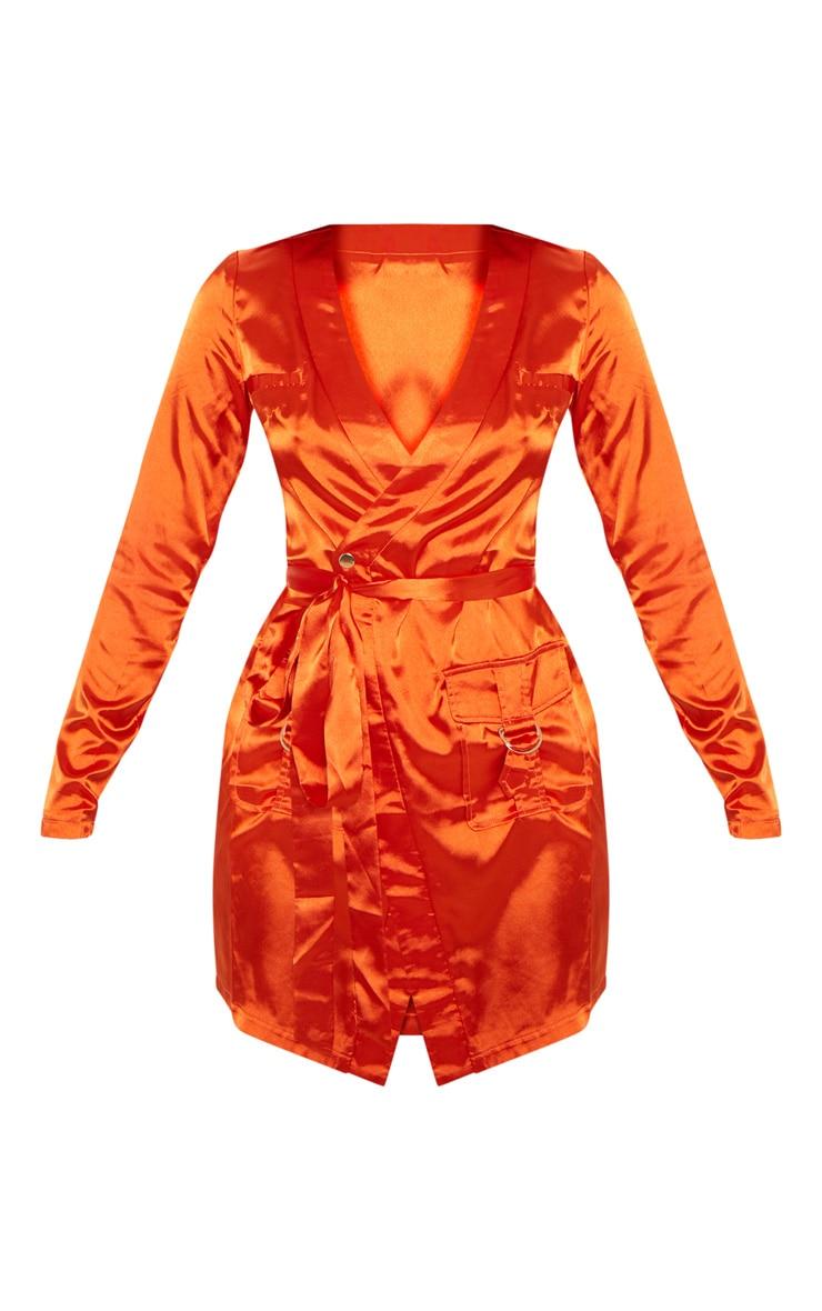 Orange Satin Utility Long Sleeve Bodycon Dress 3