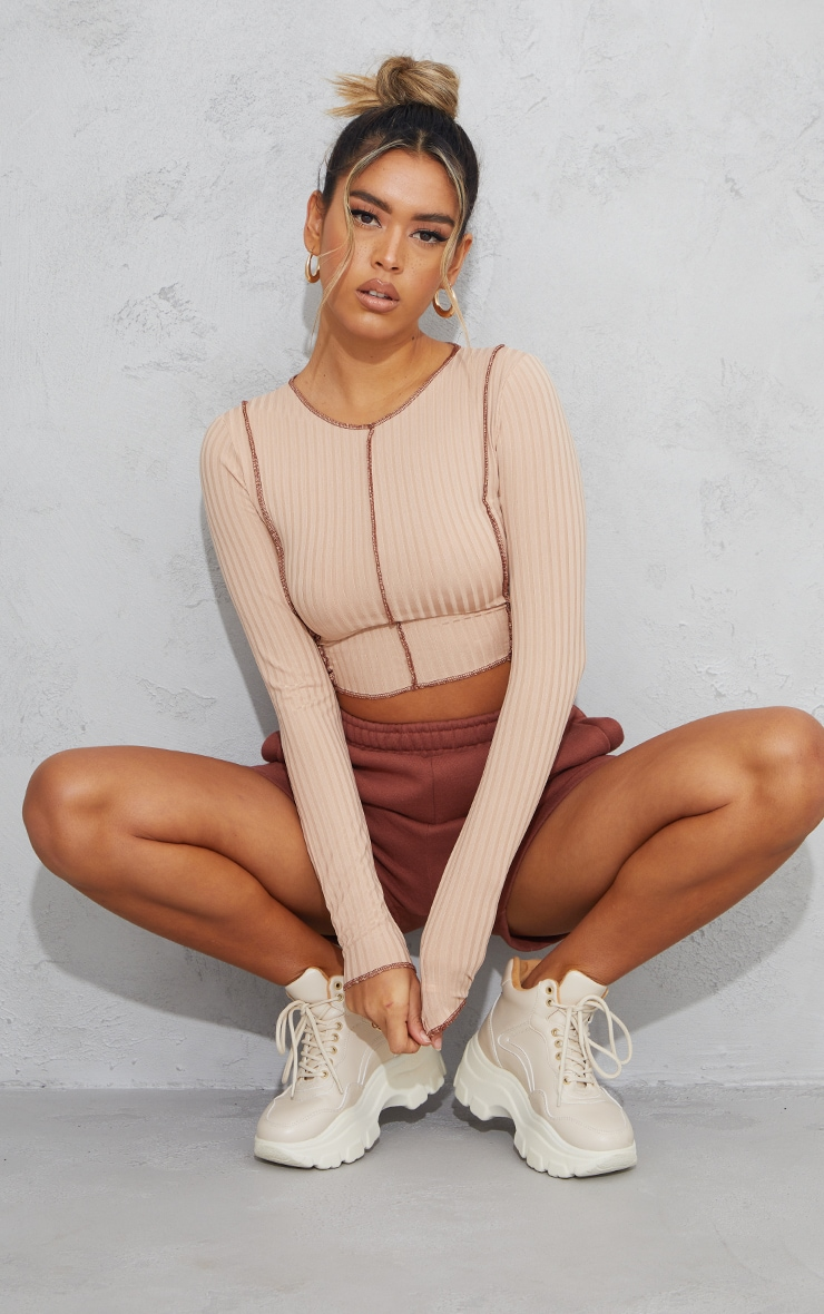 Stone Rib Contrast Seam Long Sleeve Crop Top 3