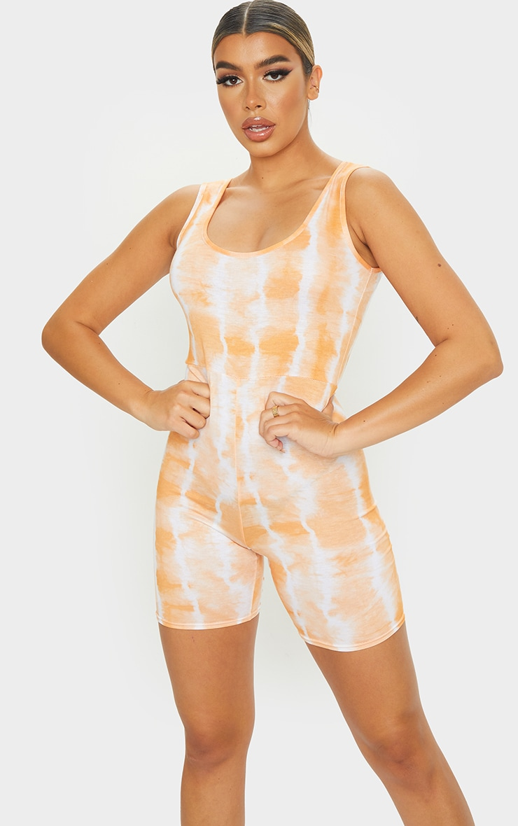 Orange Tie Dye Scoop Neck Unitard 1
