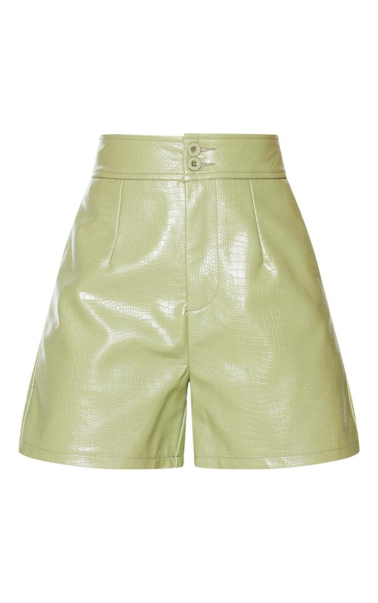 Sage Faux Leather Croc Effect Shorts 5